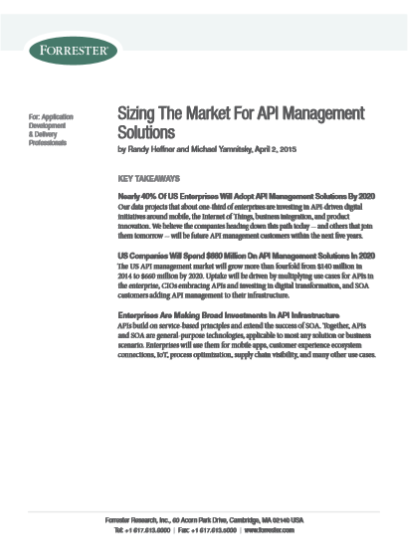 Sizing The Market For API Management Solutions
