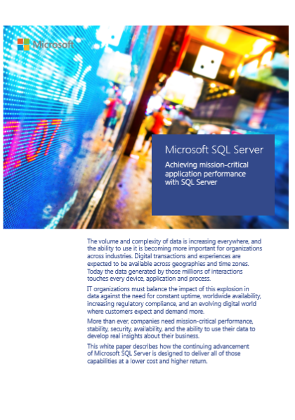 Achieving mission-critical application performance  with SQL Server