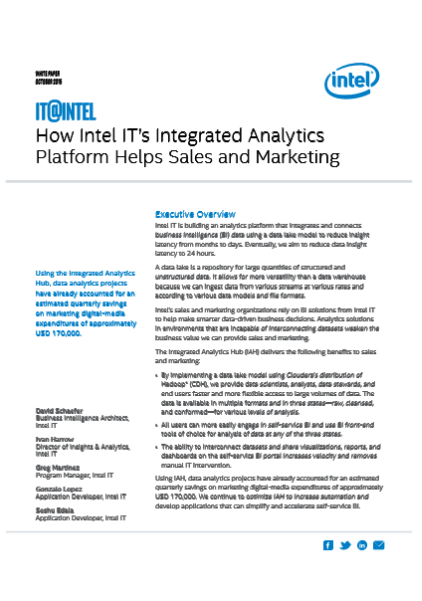 How Intel IT's Integrated Analytics  Platform Helps Sales and Marketing