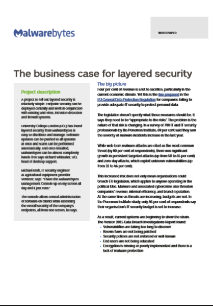 The business case for layered security
