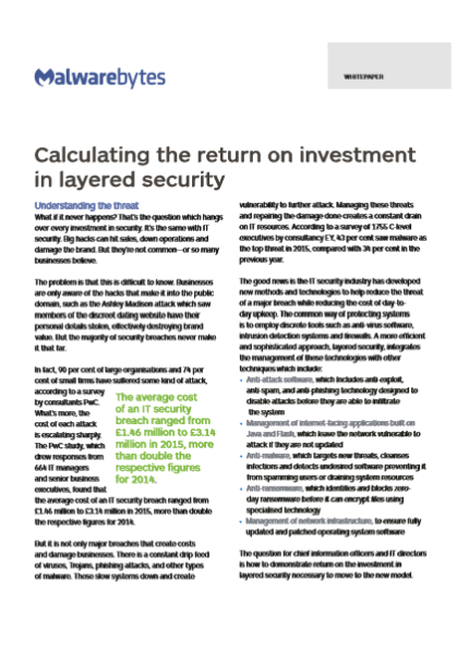 Calculating the return on investment in layered security