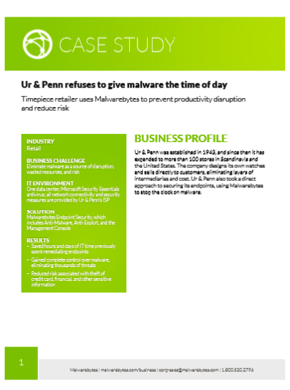 Ur & Penn refuses to give malware the time of day – Case Study