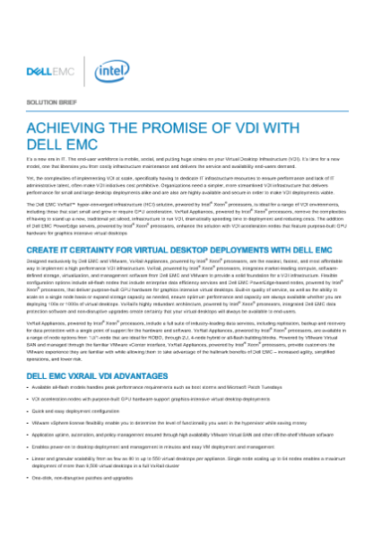 ACHIEVING THE PROMISE OF VDI WITH   DELL EMC