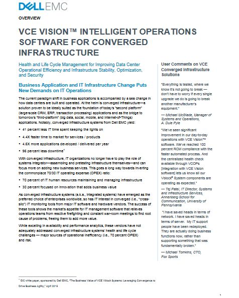 VCE VISION™ INTELLIGENT OPERATIONS SOFTWARE FOR CONVERGED INFRASTRUCTURE