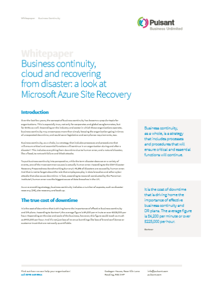Business continuity, cloud and recovering from disaster: a look at Microsoft Azure Site Recovery