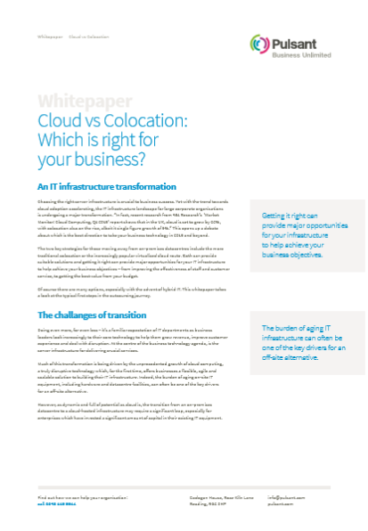 Cloud vs Colocation: Which is right for  your business?