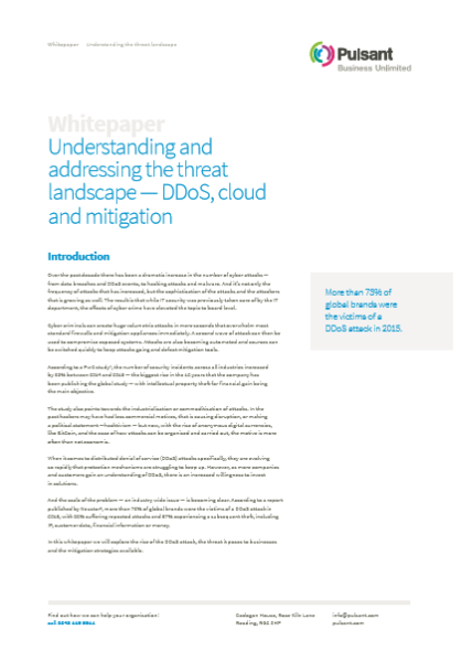 Understanding and addressing the threat landscape — DDoS, cloud and mitigation