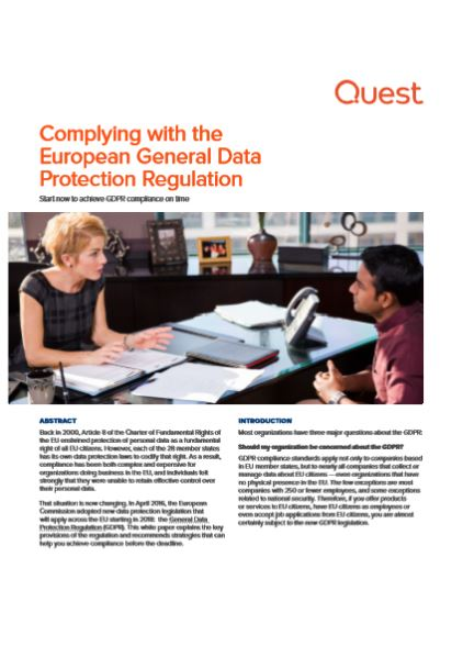 Complying with the European General Data Protection Regulation