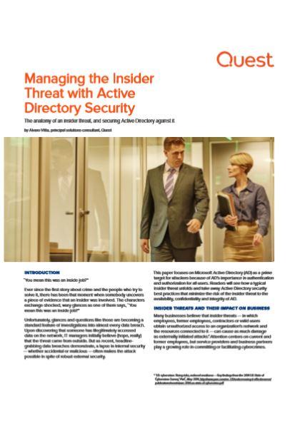 Managing the Insider Threat with Active Directory Security