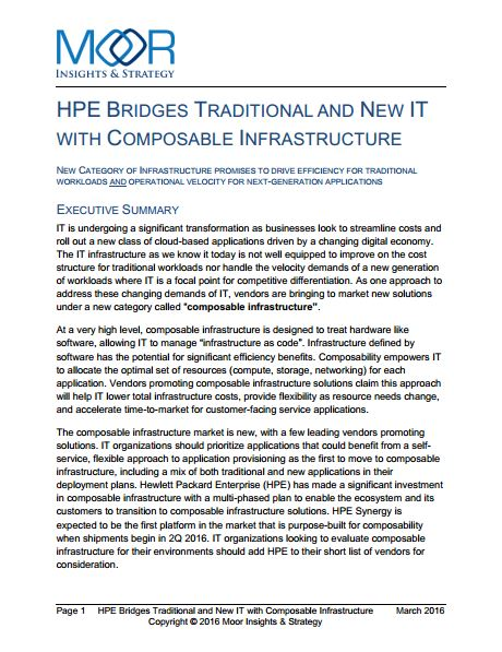Hpe Bridges Traditional And New It With Composable Infrastructure