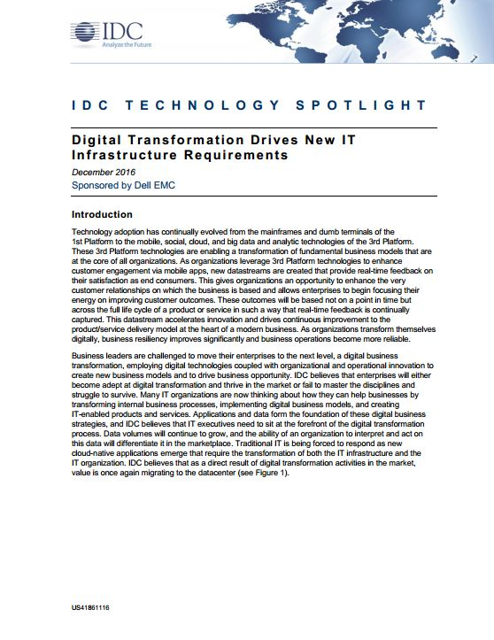 Digital Transformation Drives New IT Infrastructure  Requirements