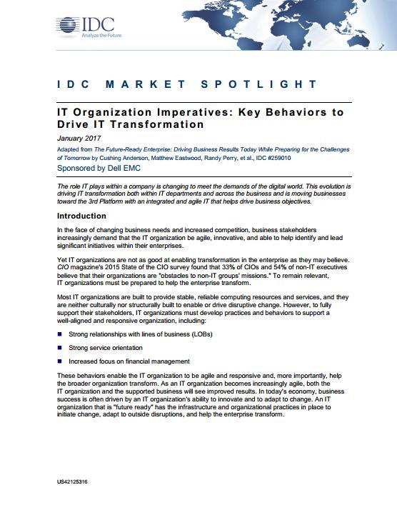 IT Organisation Imperatives : Key Behaviors to Drive IT Transformation