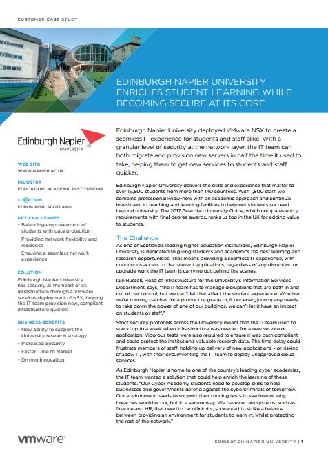 EDINBURGH NAPIER UNIVERSITY ENRICHES STUDENT LEARNING WHILE  BECOMING SECURE AT ITS CORE
