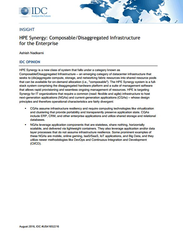 HPE Synergy: Composable/Disaggregated Infrastructure  for the Enterprise