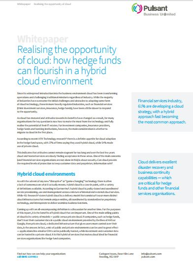 Realising the opportunity  of cloud: how hedge funds  can flourish in a hybrid  cloud environment