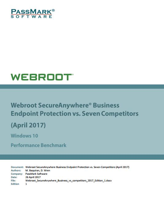 Webroot SecureAnywhere Business Endpoint Protection vs. Seven Competitors