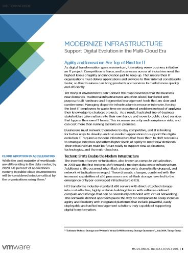 MODERNIZE INFRASTRUCTURE – Support Digital Evolution in the Multi-Cloud Era