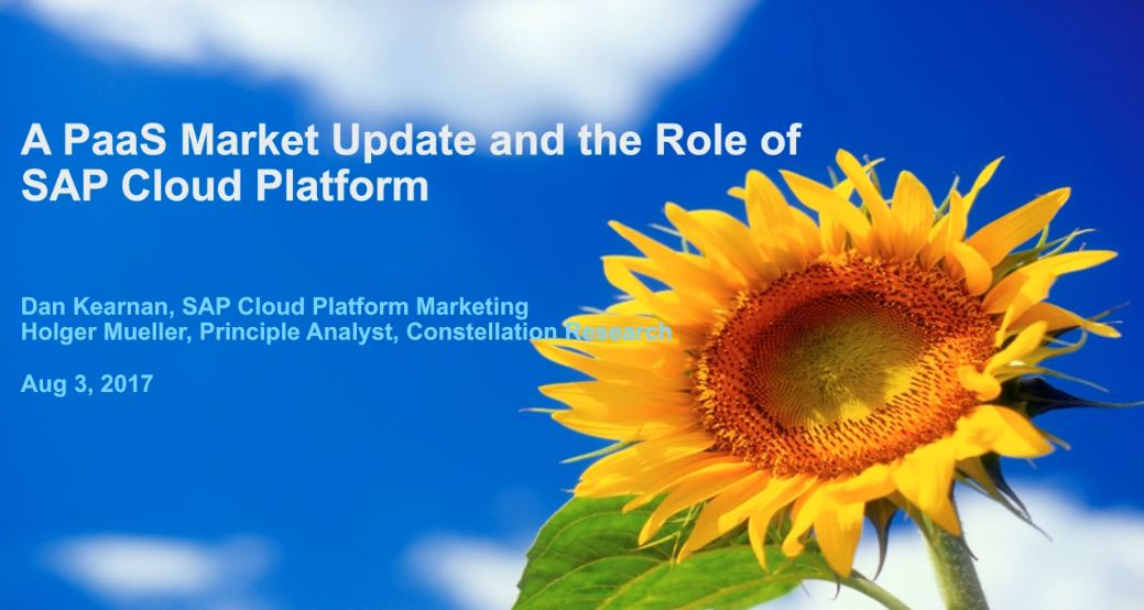 A PaaS Market Update and the Role of SAP Cloud Platform