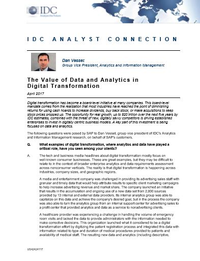 The Value of Data and Analytics in Digital Transformation