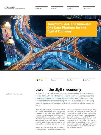 TRANSFORM, ACT AND INNOVATE: ONE DATA PLATFORM FOR THE DIGITAL ECONOMY