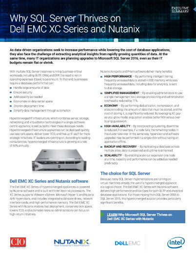 SQL Server on Dell EMC XC Series and Nutanix