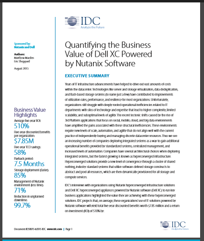 Quantifying the Business Value of Dell XC Powered by Nutanix Software