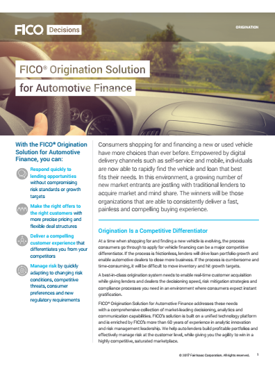 Origination Solution for Automotive Finance