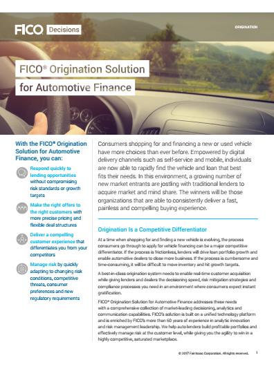 Origination Solution for Automotive Finance
