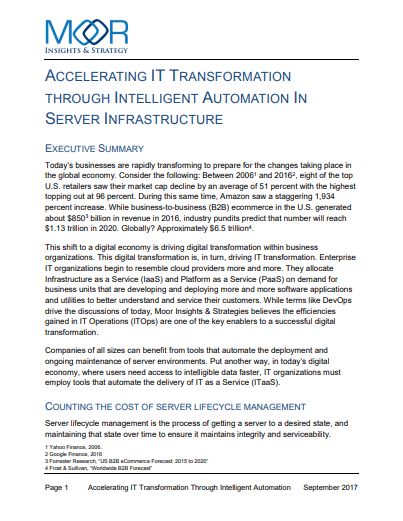 Accelerating IT Transformation through intelligent automation in server infrastructure