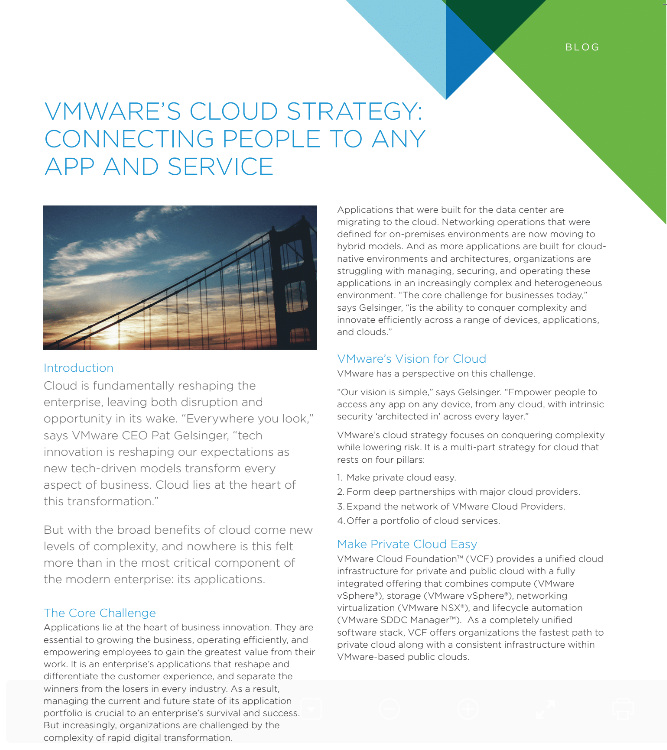 VMware's Cloud Strategy: Connecting People to Any App and Service