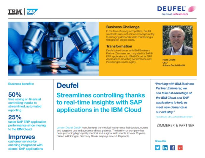 Streamlines controlling thanks to real-time insights with SAP applications in the IBM Cloud