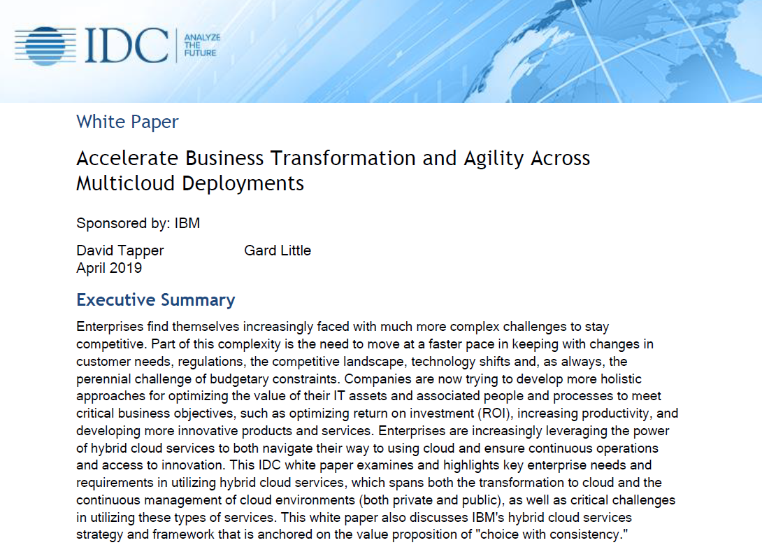 NEW  IDC: Accelerate business transformation and agility across multicloud deployments