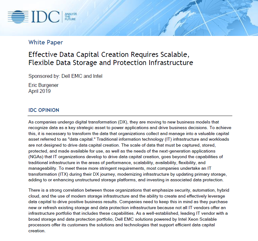 Effective data capital creation requires scalable, flexible data storage and protection infrastructure