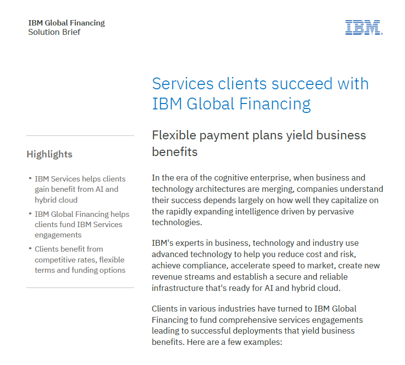 Services clients succeed with IBM Global Financing