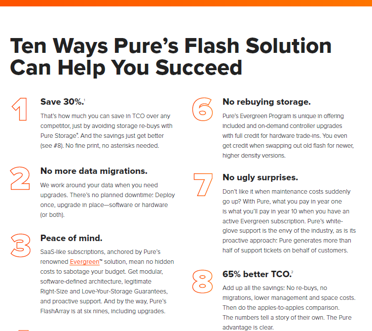Ten ways Pure's flash solution can help you succeed