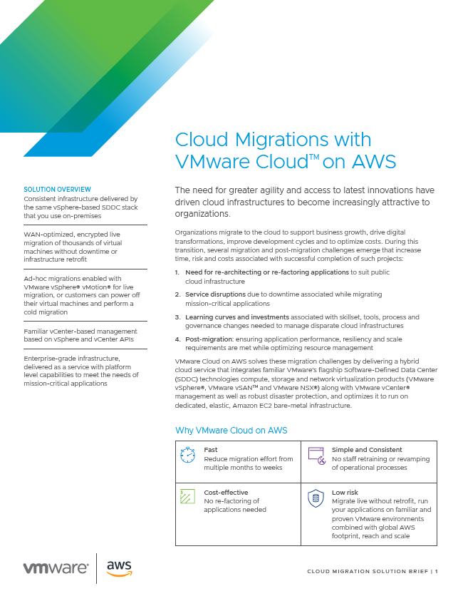 Cloud Migrations with VMware CloudTM on AWS