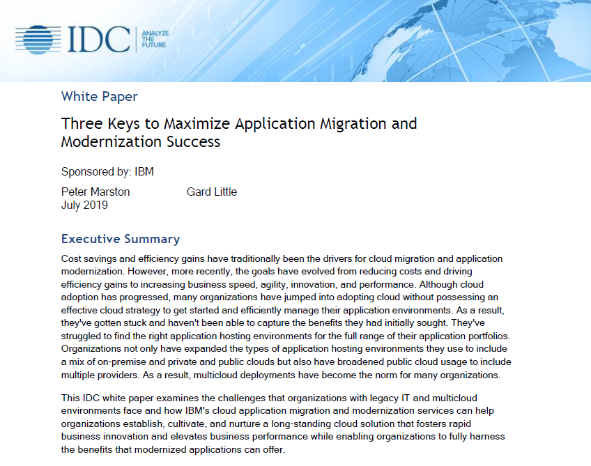 Three Keys to Maximize Application Migration and Modernization Success