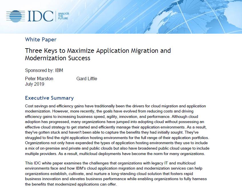 Three Keys to Maximize Application Migration and Modernization Success