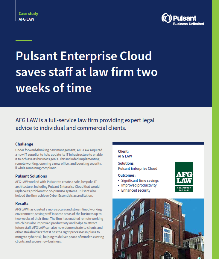 Pulsant Enterprise Cloud saves staff at law firm two weeks of time