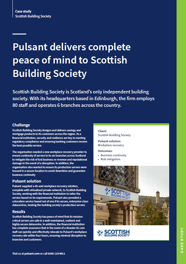 Pulsant delivers complete peace of mind to Scottish Building Society