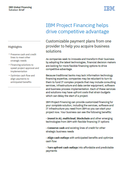 IBM Project Financing helps drive competitive advantage