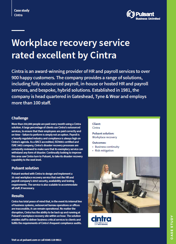Workplace recovery service rated excellent by Cintra
