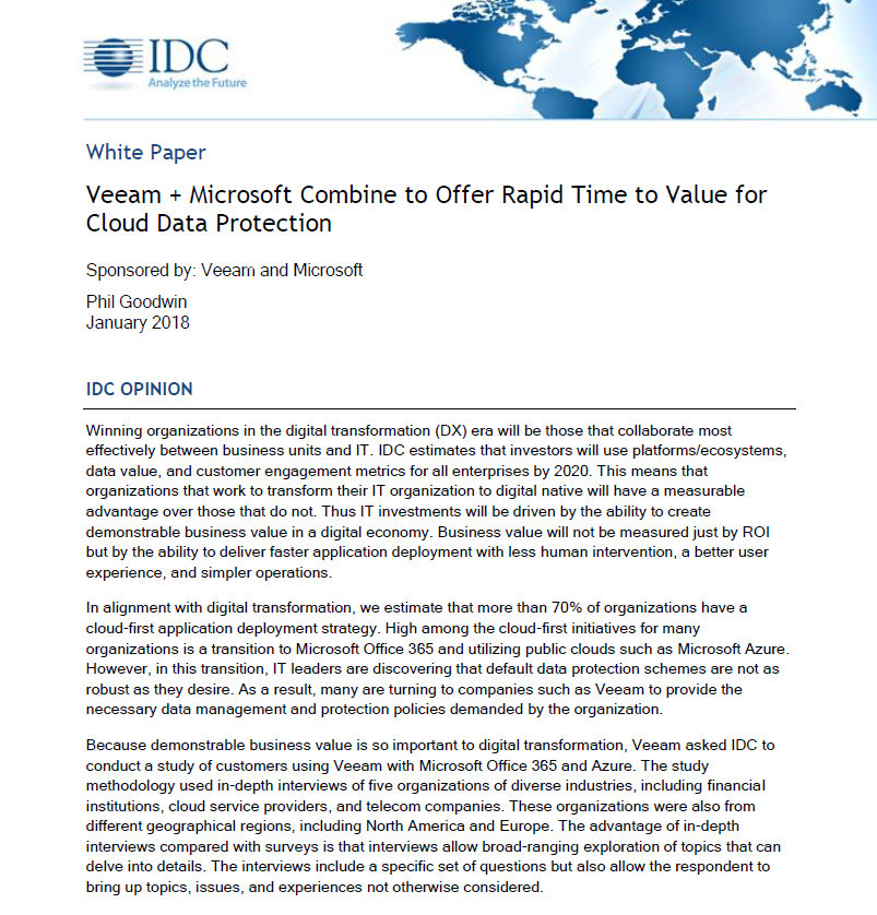 Veeam + Microsoft Combine to Offer Rapid Time to Value
