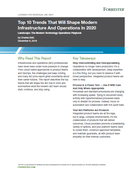 Top 10 Trends That Will Shape Modern Infrastructure And Operations In 2020