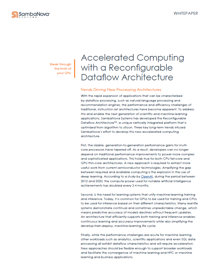 Accelerated Computing with a Reconfigurable Dataflow Architecture
