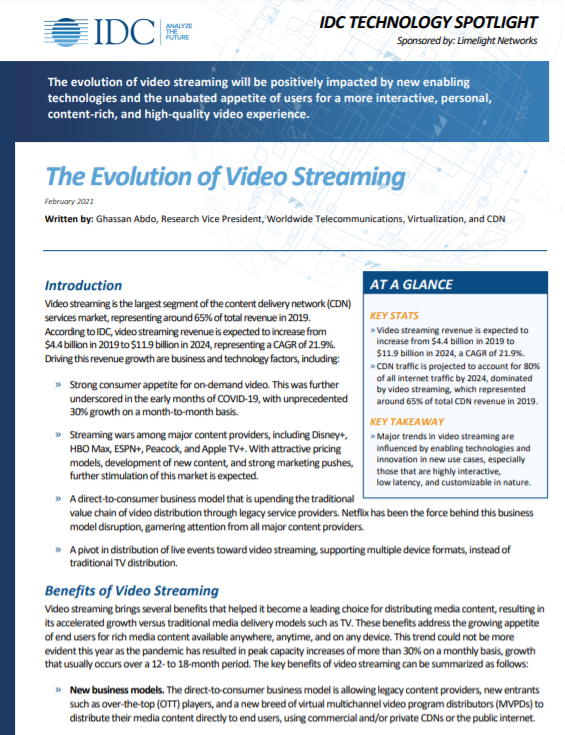 The Evolution of Video Streaming