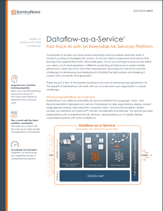 Dataflow-as-a-Service. Fast Track AI with an Extensible ML Services Platform